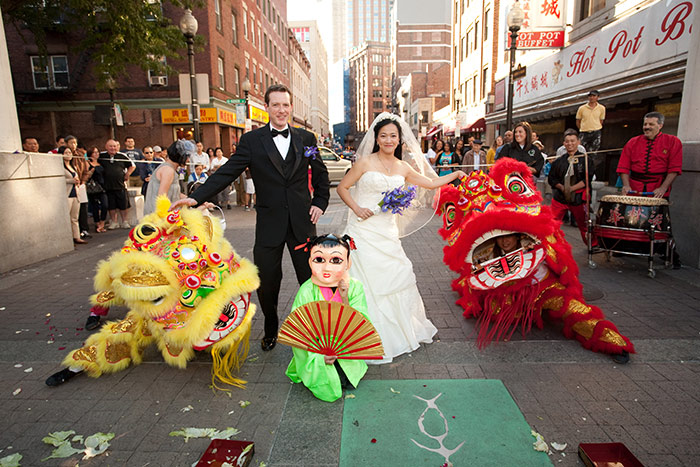 The Lion Dance Team performing at a wedding in Chinatown